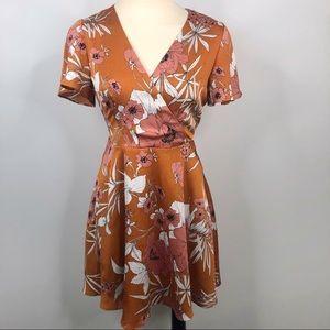 Express Satin Floral Surplice Mini Dress
